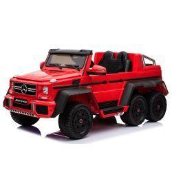 Voiture-jouet électrique Mercedes-Benz G63 6X6, Lecteur MP3, Éclairage de roue et éclairage inférieur, 2.4Ghz, 12V14AH, Boîtier de batterie amovible, 4 X MOTEUR, Télécommande, Double siège en cuir, Roues GUM, Radio FM, Servomoteur, Deux pédale, rouge