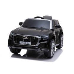 Voiture électrique Audi Q8, noire, sous licence d'origine, siège en cuir, portes ouvrantes, moteur 2 x 25 W, batterie 12 V, télécommande 2,4 GHz, roues EVA douces, lumières LED, démarrage progressif, licence ORIGINALE