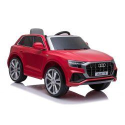 Voiture électrique Audi Q8, rouge, avec licence d'origine, siège en cuir, portes ouvrantes, moteur 2 x 25 W, batterie 12 V, télécommande 2,4 GHz, roues EVA douces, lumières LED, démarrage progressif, licence ORIGINALE