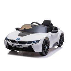 Voiture électrique BMW i8, blanc, avec licence d'origine, siège en cuir, portes ouvrantes, moteur 2 x 25 W, batterie 12 V, télécommande 2,4 GHz, roues EVA douces, suspension, démarrage en douceur