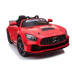 Voiture électrique Mercedes-Benz GT4, rouge, avec licence d'origine, batterie, ouverture des portes, 2x moteur, batterie 12 V, télécommande de 2,4 Ghz, roues EVA souples, démarrage en douceur