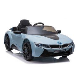 Voiture électrique BMW i8, bleu, sous licence d'origine, siège en cuir, portes ouvrantes, moteur 2 x 25 W, batterie 12 V, télécommande 2,4 GHz, roues EVA douces, suspension, démarrage en douceur