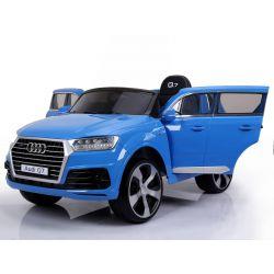 Voiture électrique pour enfants Audi Q7 Quattro Neuve, Peinte en Bleu, Certifiée d'origine, Alimentée par batterie, Portes ouvrantes, Siège simple, 2x moteur, batterie 12 V, télécommande 2.4 Ghz, Jantes EVA souples, Démarrage en douceur