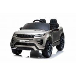 Porteur électrique Range Rover EVOQUE, peint en gris, double siège en cuir, lecteur MP3 avec entrée USB, lecteur 4x4, batterie 12V10Ah, roues EVA, essieux suspendus, démarrage à clé, télécommande Bluetooth 2,4 GHz, sous licence