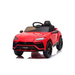 Voiture électrique Lamborghini URUS, rouge, sous licence d'origine, alimenté par batterie, portes à ouverture verticale, 2x moteur, batterie 12 V, télécommande 2,4 GHz, roues EVA souples, suspension, démarrage en douceur