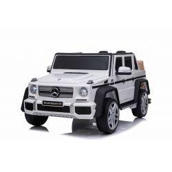 Voiture électrique Mercedes G650 MAYBACH, Blanc, Licence d'origine, Batterie 12V, Portes ouvrantes, Moteur 2 x 25W, Télécommande 2,4 Ghz, Roues EVA souples, Suspension, Démarrage progressif, Lecteur MP3 avec entrée USB / SD