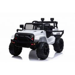 Voiture électrique OFFROAD à traction arrière, blanche, batterie 12V, Châssis haut, siège large, Essieux suspendus, Télécommande 2,4 GHz, Lecteur MP3 avec entrée USB / SD, Éclairage LED