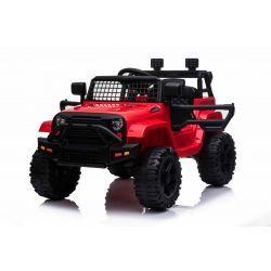 Voiture électrique OFFROAD à traction arrière, rouge, batterie 12V, Châssis haut, siège large, Essieux suspendus, Télécommande 2,4 GHz, Lecteur MP3 avec entrée USB / SD, Éclairage LED