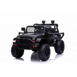 Voiture électrique OFFROAD à traction arrière, noire, batterie 12V, Châssis haut, siège large, Essieux suspendus, Télécommande 2,4 GHz, Lecteur MP3 avec entrée USB / SD, Éclairage LED