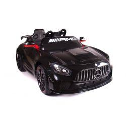 Véhicule électrique Mercedes-Benz GT4, Noir, Licence d'origine, Alimentation par batterie, Ouverture ouvrante, 2x Moteur, Batterie 12 V, Télécommande de 2,4 Ghz, Roues souples en EVA, Démarrage en douceur