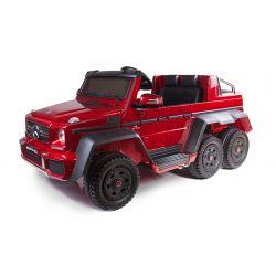 Voiture électrique Mercedes-Benz G63 6X6, LCD Écran, Lumières de roue & Feux de fond, 2.4Ghz, 12V14AH, Boîte à piles amovible, 4 X MOTEUR, Télécommande, Double siège en cuir, Roues Gencive, Radio FM, Servomoteur, Deux Pédales, Peint en rouge
