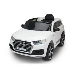 Voiture électrique pour enfants Audi Q7 Quattro Neuve, Blanche, Homologuée d'origine, Alimentée par batterie, Portes ouvrantes, Siège simple, 2x moteur, Batterie 12 V, Télécommande 2.4 Ghz, Jantes EVA souples, Démarrage en douceur